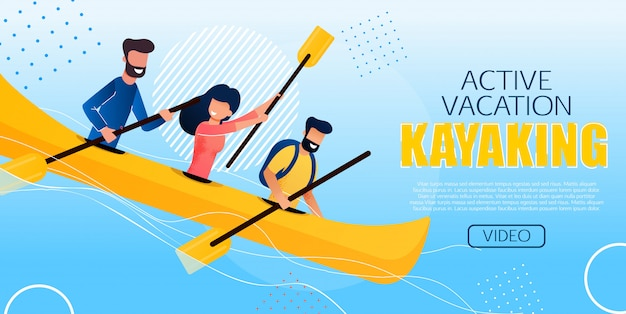 Divertente flyer active vacation kayaking flat