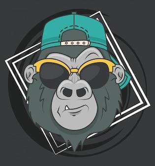 Divertente gorilla con occhiali da sole in stile cool