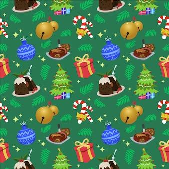 Divertente motivo natalizio con dolci e regali