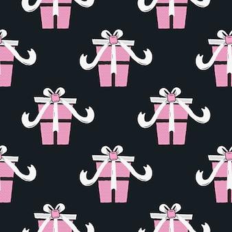 Divertente motivo natalizio senza soluzione di continuità, stampa grafica per brutto maglione festa di natale, decorazione con scatole regalo.