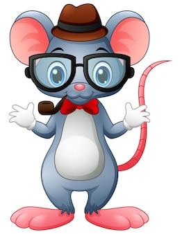 Divertente mouse hipster con occhiali e papillon