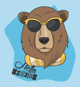 Divertente orso grizzly con occhiali da sole in stile cool