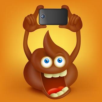 Divertente personaggio dei cartoni animati cacca facendo foto con smart phone