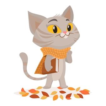 Divertente personaggio dei gatti con il libro