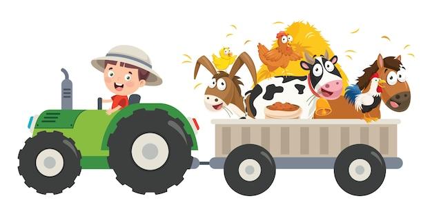 Divertente piccolo agricoltore riding tractor