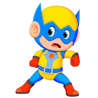Divertente piccolo potere supereroe bambino