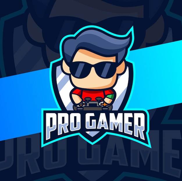 Divertente pro gamer mascot esport logo design