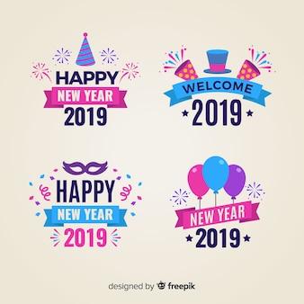 Divertente raccolta di distintivi del nuovo anno