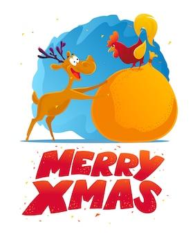 Divertente ritratto di carattere renna e gallo. . elementi di decorazione di natale. carta di buon natale e felice anno nuovo.