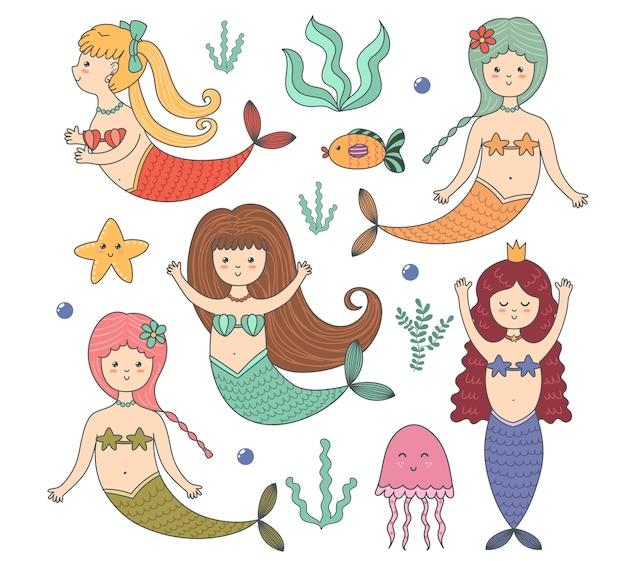 Divertente set colorato con sirene carine, pesci, meduse, stelle marine e alghe.