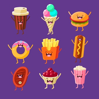 Divertente set di illustrazione di fast food