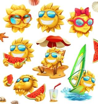 Divertente sole estivo, personaggi. set di icone 3d