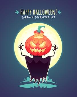 Divertente spaventapasseri zucca di halloween. illustrazione del personaggio