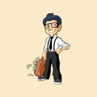 Divertente uomo d'affari dei cartoni animati