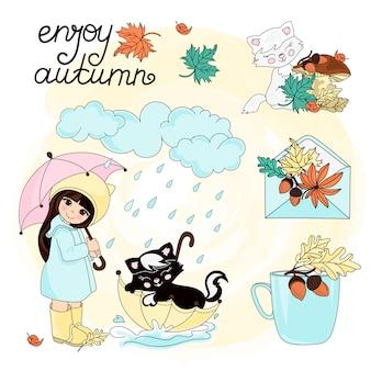 Divertenti il colore stabilito dell'illustrazione di vettore di autumn clipart dell'autunno