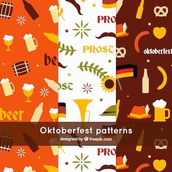 Divertenti modelli oktoberfest con design piatto