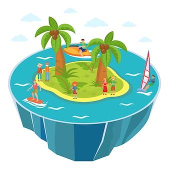 Divertimenti di attività acquatiche dei turisti sull'illustrazione della spiaggia dell'isola isometrica. windsurf, surf, jet ski.