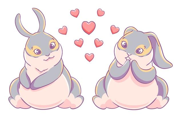 Divertimento amorevole coppia coniglietti