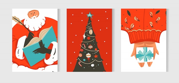 Divertimento astratto di vettore disegnato a mano raccolta di carte del fumetto di tempo di buon natale con illustrazioni carine di babbo natale e albero di natale isolato su bianco