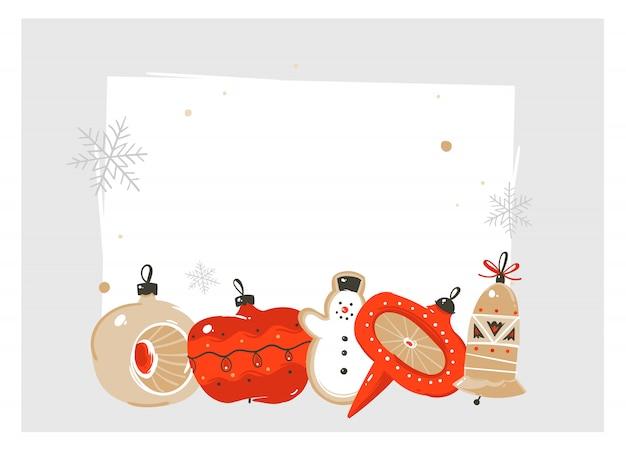 Divertimento astratto disegnato a mano buon natale e felice anno nuovo fumetto illustrazione biglietto di auguri con giocattoli vintage retrò albero di natale bagattella e copia spazio posto su sfondo bianco