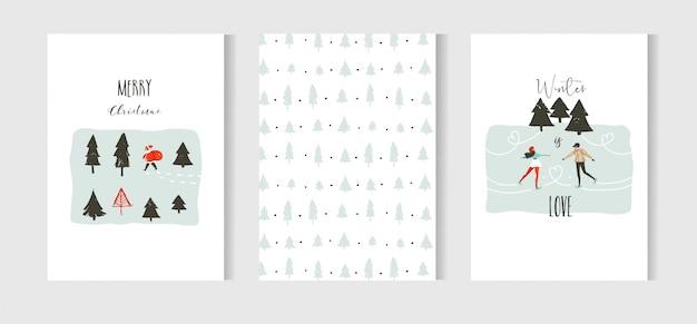 Divertimento astratto disegnato a mano buon natale tempo cartone animato carte insieme di raccolta con illustrazioni carine