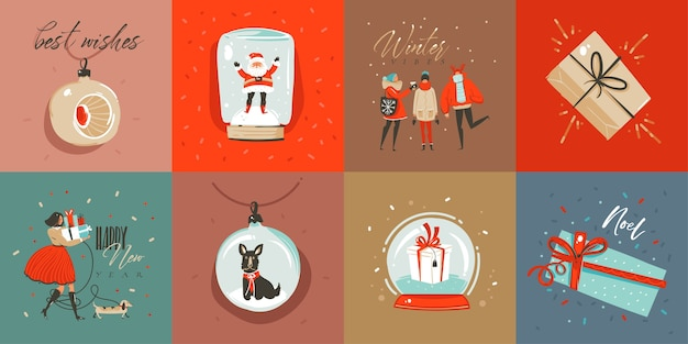 Divertimento astratto disegnato a mano raccolta di carte del fumetto di buon natale insieme con illustrazioni carine, scatole regalo a sorpresa, cani e testo scritto a mano calligrafia moderna su sfondo colorato