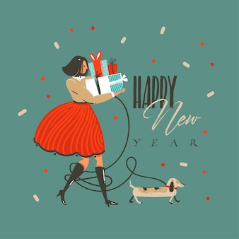 Divertimento disegnato a mano astratto buon natale e felice anno nuovo cartoon illustrazione auguri con cane divertente, ragazza con regali e felice anno nuovo testo su sfondo verde.