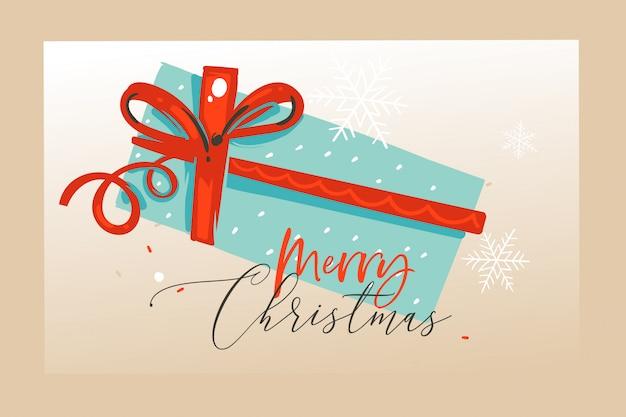 Divertimento disegnato a mano astratto merry christmas tempo illustrazioni di cartoni animati di auguri, landing page e sfondo con confezione regalo e buon natale testo su sfondo artigianale.