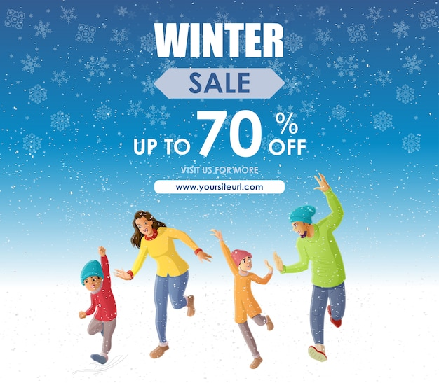 Divertimento in famiglia felice nell'offerta di vendita della stagione invernale
