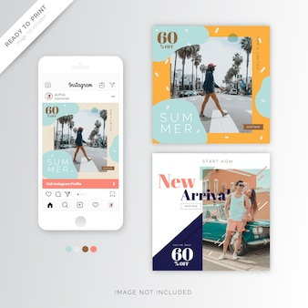 Divertimento instagram banner modello estate design