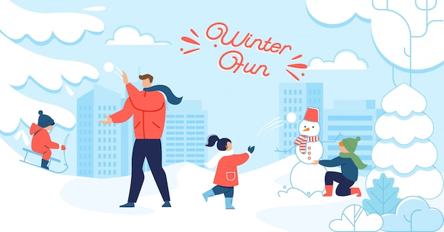 Divertimento invernale e poster di motivazione della famiglia felice