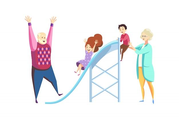 Divertimento, riposo, concetto di generazione giovane e anziana