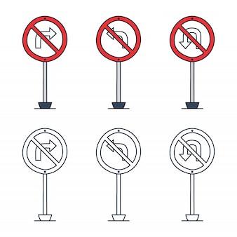 Divieto set di segnali stradali.