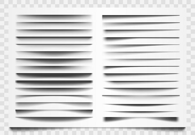 Divisore realistico di ombra. separatore ombra linea, divisore barra web d'angolo, ombre orizzontali che dividono i modelli impostati. decorazione dell'ombra della barra, illustrazione realistica della struttura del confine