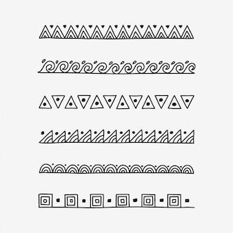 Divisori di testo modello doodle disegnato a mano