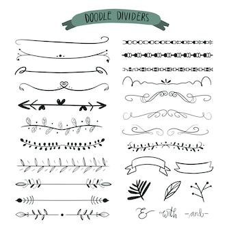 Divisori disegnati a mano. doodle set di linee, bordi freccia.