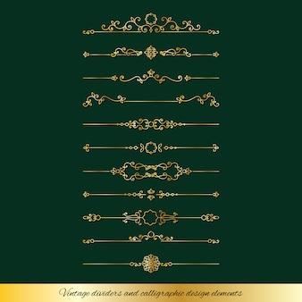 Divisori dorati vintage e set di decorazioni per la pagina