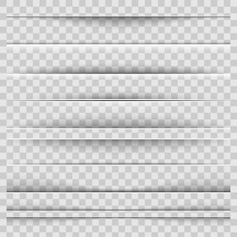 Divisori ombra di carta realistici.