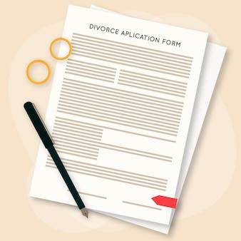 Divorzio concetto con modulo di domanda