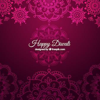 Diwali background ornamentali in colore rosa