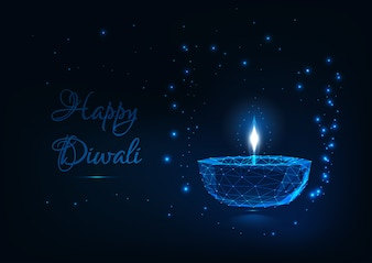 Diwali card con lampada incandescente low poly festival lights.