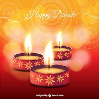 Diwali carta con candele