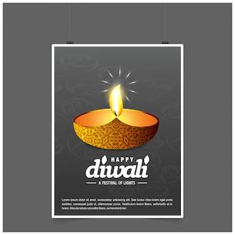 Diwali design con sfondo scuro e tipografia vettoriale