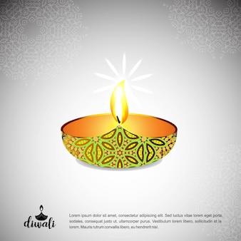 Diwali design sfondo chiaro e tipografia vettoriale