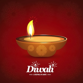 Diwali design sfondo scuro e tipografia vettoriale