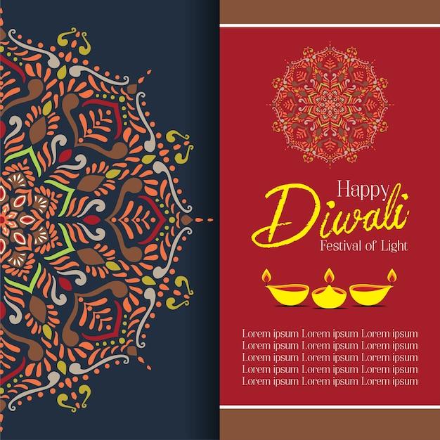 Diwali felice con mandala oil lamp design vector