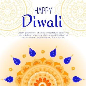 Diwali felice disegnato a mano con petali