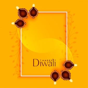 Diwali felice saluto con diya e spazio del testo