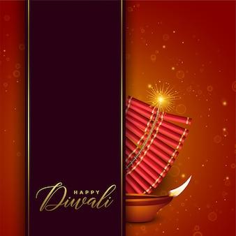 Diwali festival design con cracker e diya