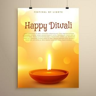 Diwali festival felice saluto con diya realistico e effetto bokeh